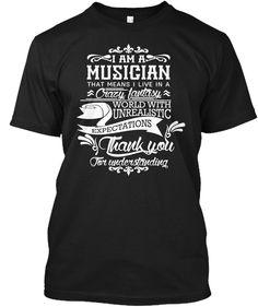 I Am A Musician Shirts   Music T Shirt Black T-Shirt Front