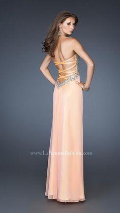 { 18942   La Femme Fashion 2013 } La Femme Prom Dresses - Low Criss Cross Back - Sequined Bodice - Chiffon Skirt