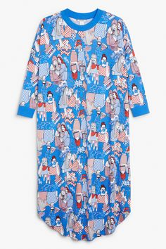 Monki Image 1 of Oversize print dress in Blue