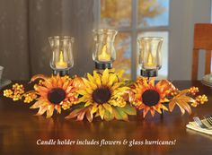 Autumn Harvest Sunflower Candle Centerpiece