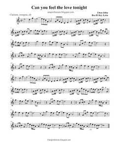 AnaProfeMusic: Partitura Can you feel the love tonight - Sheet Music - Elton John