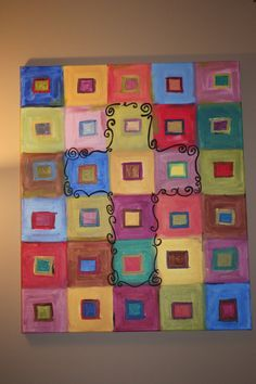 Cross Squares Canvas Painting by AddababyDesigns on Etsy, $25.00