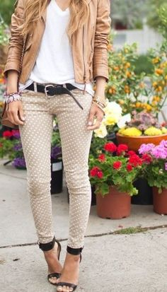 I love everything about this outfit, light nude poka dotted pants and tan leather jacket. sweet colors, a little edgy