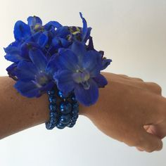 Our blue corsage wristlet is beautiful and comfy.