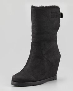 Glad Shearling-Lined Wedge Boot, Black by Eileen Fisher at Neiman Marcus.