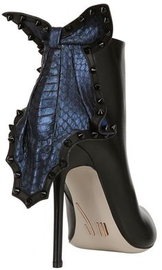 Daniele Michetti 105 mm Elaphe and Suede Patch Boots, $1,212