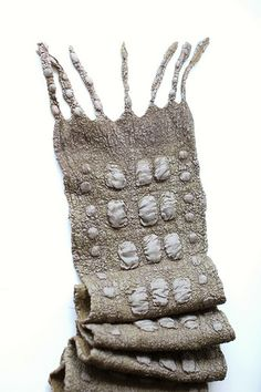 Nuno Felted Scarf   Australian merino wool, silk ponge fabric