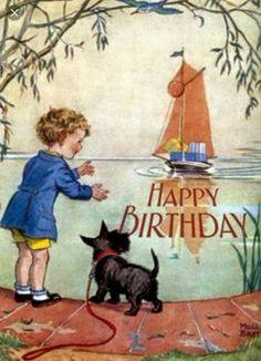 Boy, dog, sailboat, Birthday greeting