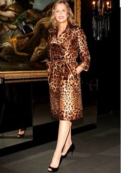 Lauren Hutton. leopard trench