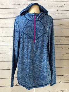 Z ZELLA Plus Size 1X Blue Stretchy Pullover Hooded Active Jacket Workout  #ZELLA #AthleticJackets
