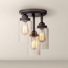 3-light semi-flush mount light for kitchen nook