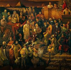 (right part) 'Discussing The Divine Comedy With Dante' painting by Taiwanese artists Dai Dudu, Li Tiezi, and Zhang