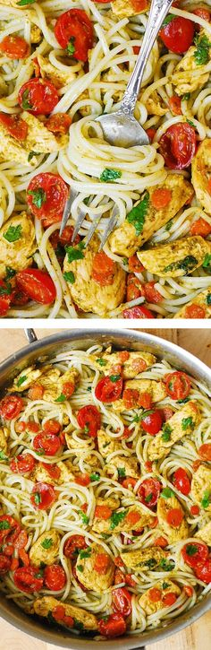 Pesto Chicken, Tomatoes, and Carrots with Basil Pesto and Parmesan Noodles #pesto #chicken #noodles