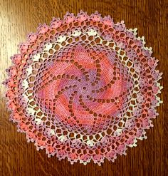 "16"" doily named Anastasia from Leisure Arts leaflet #2934 'A Dozen Doilies' crocheted with 100% cotton Alize (color 3705)"