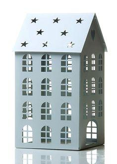 Kynttilät ja lyhdyt - Lyhty talomalli 28 cm - Hyvän Tuulen Puoti
