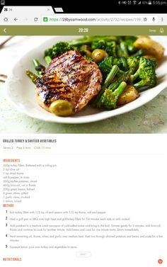 Turkey & vege 28 By Sam Wood, Michelle Bridges, Diet Recipes, Healthy Recipes, Clean Eating, Healthy Eating, Grilled Turkey, Good Food, Yummy Food