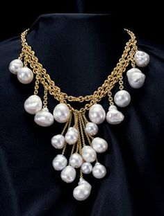 large baroque south sea pearl & 18kt Gold bib necklace: Assael