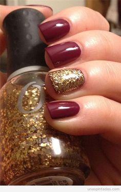 Decoración de uñas con colores otoñales y purpurina 3