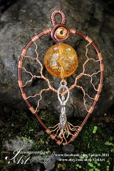 Tree of Life  Citrine Kristel crystal sphere Sun Goddess by GelArt