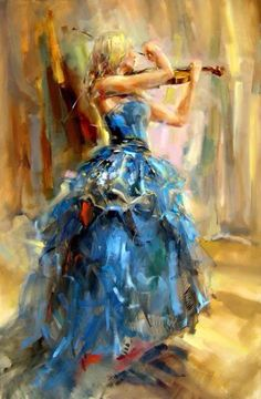 girl wearing blue gown playing a violin art