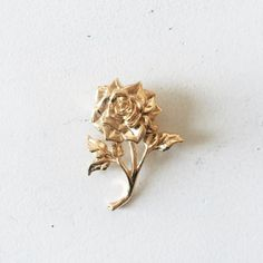 Gold Plated Rose Pin