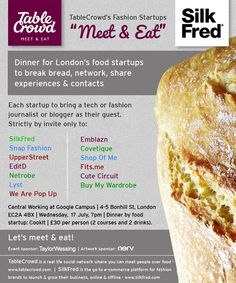 TableCrowd and SilkFred's Fashion Startups 'Meet & Eat' – July 2013 Startups, Meet, Dinner, Food, Fashion, Dining, Moda, Suppers, Essen