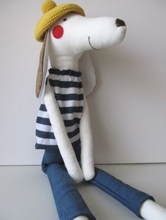 Oh la la, Peter went to Paris - Soft handmade toy dog for children with a crocheted beret.. $39.00, via Etsy.