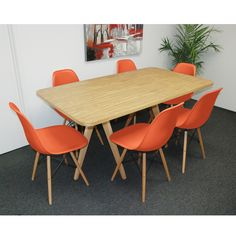 Mod Natural Twin Tower 7-Piece Dining Set ((1) Natural Table and (6) Orange Chairs), Size 7-Piece Sets
