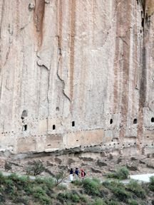 Bandelier - Rows of viga holes show that Long House was once a two to three story structure.