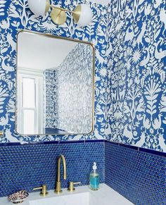 Home Decoration Bathroom .Home Decoration Bathroom Powder Room Wallpaper, Bathroom Wallpaper, Of Wallpaper, Wallpaper Ideas, Blue And White Wallpaper, Swedish Wallpaper, Wallpaper Ceiling, Wallpaper Designs, Modern Wallpaper
