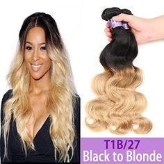 "Kapelli Hair Ombre Hair 2 Tone T1B/27 Ombre Hair Extensions Brazilian Virgin Hair Body Wave 3pcs Ombre Human Hair Weave Bundles(10"" 10"" 10"")"
