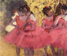 Degas, The Pink Dancers, Before the Ballet, 1884  This artist always reminds me of my childhood. We had a large Degas print in our sitting room. I love the deep pink in this one. (: