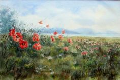 THE POPPY FIELD SUSSEX WATERCOLOUR SIGNED BY PHILIP WATTS  c1970's