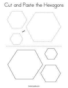 Cut and Paste the Hexagons Coloring Page - Twisty Noodle Shapes Worksheet Kindergarten, Preschool Shapes, Kindergarten Coloring Pages, Kindergarten Colors, First Grade Worksheets, Shapes Worksheets, Free Preschool, Preschool Learning, Kindergarten Worksheets