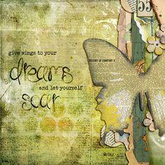 Digital art journal layout by litabells:  Give Wings To Dreams, via Flickr.