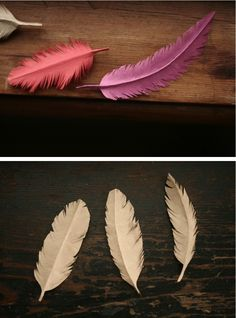 Paper feathers made from grocery bags - no instructions, only found copies and these for sale ... I'm just wondering how to make such a strong spine on the feathers, I'm thinking the quill part should be rolled. :)  Will try this ...