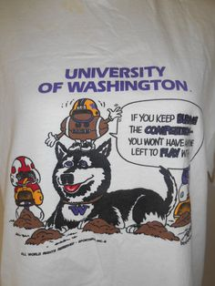 Vintage University of WASHINGTON  Huskies    by ATELIERVINTAGESHOP