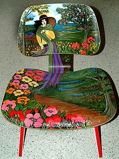 """An Eames Chair/ Hermann Miller Hand Painted and embellished with Swarovski Crystals. Acrylic and oil, Titled """" Departure """"   Private collection of Mrs. Olga Hirschorn"""