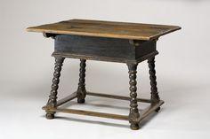 "STRETCHER TABLE -    1735 – 1740 -  Ebenezer, Georgia -  Sweetgum, yellow poplar, and yellow pine -  HOA: 26"", WOA: 32"", DOA: 27 1/2"""