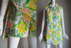 Vintage 70s Park East Swirl Playsuit Scooter Dress by funquejunque