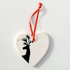 Reindeer Personalised Porcelain Heart Christmas Decoration, Hand Painted Ornament, Christmas Message Keepsake. £6.50, by Free Spirit Designs