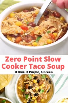 Zero Point Weight Watchers Taco Soup packed with chicken breast beans corn tomatoes and tons of taco flavor. Cooked in the slow cooker or on the stove-top this healthy dish will feed a crowd and couldn't be easier to make Weight Watchers Slow Cooker Recipe, Weight Watcher Taco Soup, Plats Weight Watchers, Weight Watchers Meal Plans, Weight Watcher Dinners, Weight Watchers Diet, Weight Watchers Chicken, Weight Watchers Casserole, Weight Watcher Breakfast