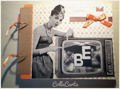 CollaCarta: Album portafoto Ricordi Vintage Bellissimo Album Portafotografie ispirato al Vintage, alle atmosfere ed ai personaggi RAI anni '60, realizzato interamente a mano. Le dimensioni dell'album sono di ca 26x18cm. La copertina presenta immagine in bianco e nero (all'interno della TV è possibile inserire le iniziali desiderate) e applicazione in nastro.