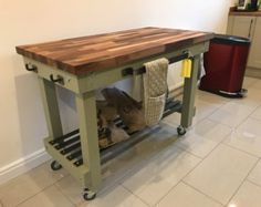 Rustic Breakfast Bar Butchers Block Kitchen Unit  Any Height