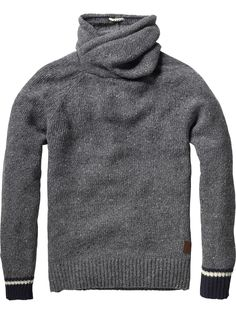 Naps yarn pull with twisted hood and contrasting cuffs - Pulls - Scotch & Soda Online Shop