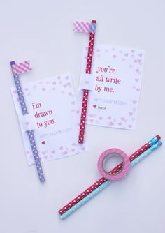 Heart Printable Pencil Valentines: DRAWN by you!