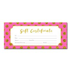 Pink gold banner gift certificate download premade gift gold polka dots printable gift certificate hot pink gold glitter birthday yelopaper Choice Image