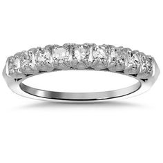 This elegant womens diamond wedding band is handcrafted in Platinum. Nine brilliant round cut diamonds are placed half way around the band and total to 0.75 carats. The band measures to 3.2 mm in width and weighs 4 grams. $1,601.00
