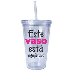 """Vaso con popote """"Agujerado"""" Blanco"""