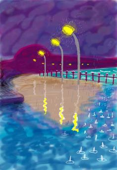 Rainy NIght On Bridlington Promenade ,  2008 -by David Hockney